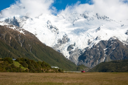 Beautiful view of snow mountain during walk to glacier in Mount Cook National Park, South Island, New Zealand photo