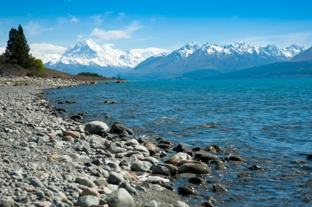 Beautiful panorama view of lake and mountain in blue sky, South Island, New Zealand photo