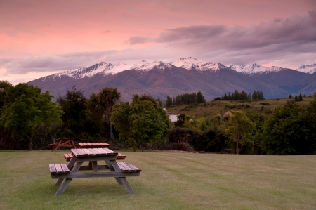 Beautiful view of snow mountain in sunset time, South Island, New Zealand photo