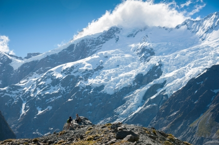 Beautiful view during walk to glacier in Mount Cook National Park, South Island, New Zealand photo