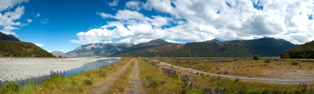 newzealand: Beautiful panorama view and landscape in South Island, New Zealand Stock Photo