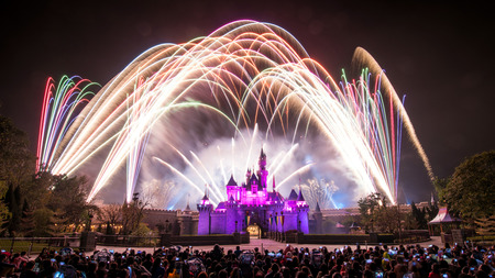 HONG KONG, CHINA - Feb 28, 2014   Fireworks show at Hong Kong Disneyland on Feb 28, 2014
