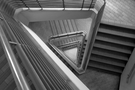 Pattern of triangle stair in black and white tone photo