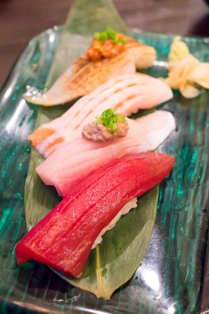 Close up nigiri sushi set photo