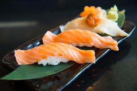 Close up salmon sushi and engawa sushi photo