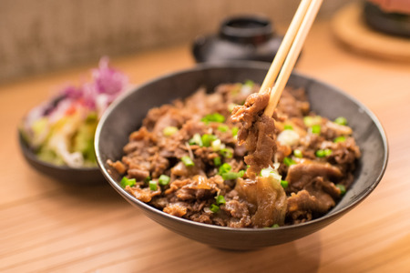 Set of gyudon : japanese food with beef and rice