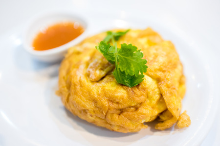 crab: Delicious crab fries egg in Thai Style omelet
