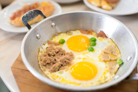 indochina: Indochina pan-fried egg with pork and toppings, Breakfast food in Thai style