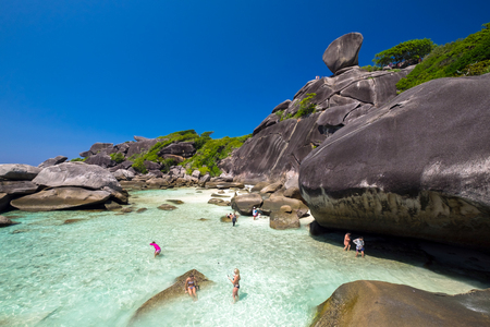 Sail rock, beautiful and famous landmark of Similan Island, Thailand Standard-Bild