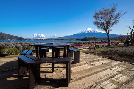 seaonal: Beautiful view of Fujisan Mountain in spring, Kawaguchiko lake, Japan Stock Photo