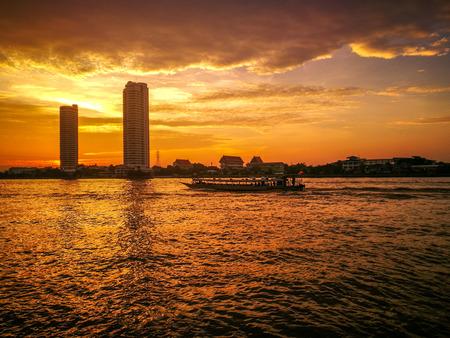 Beautiful sunset at Chao Phraya river, Bangkok, Thailand