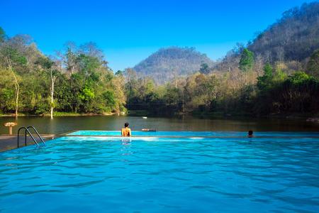 Beautiful swimmimg pool and nature view in Kanchanaburi, Bangkok