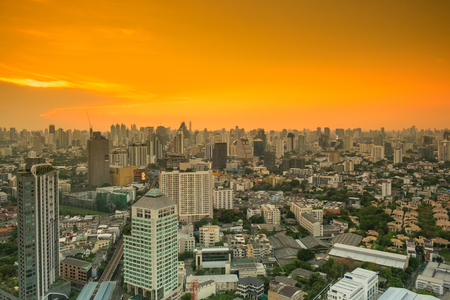 technoligy: Beautiful Panorama Bangkok cityscape in sunset time, Bangkok, Thailand