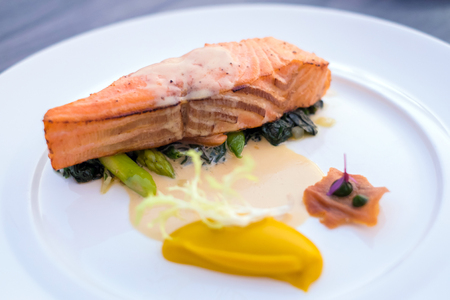 Delicious Norwegian Salmon Steak Stock Photo