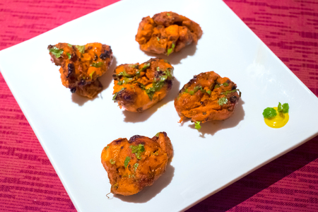 A plate of Chicken Masala, Traditional indian food Stock Photo