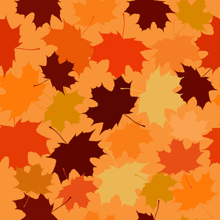 aceraceae: Seamless vector pattern of maple leaves on a beige background. Illustration