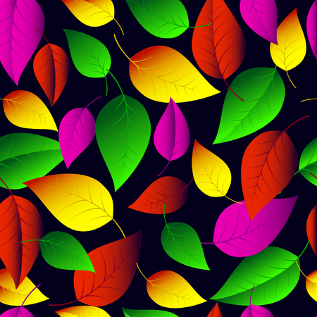 leaved: Seamless vector pattern of many-colored  leaves on a dark-blue background.