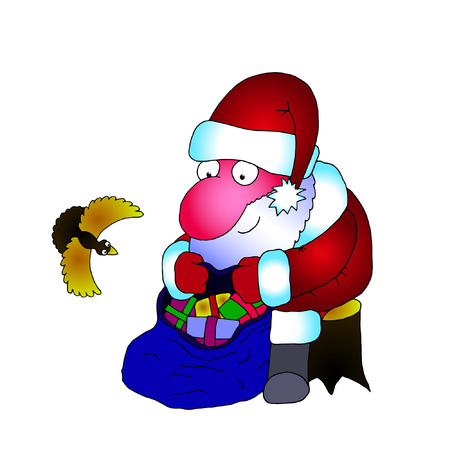 merry mood: vector image Santa Claus with a bag of gifts and a bird on a white background