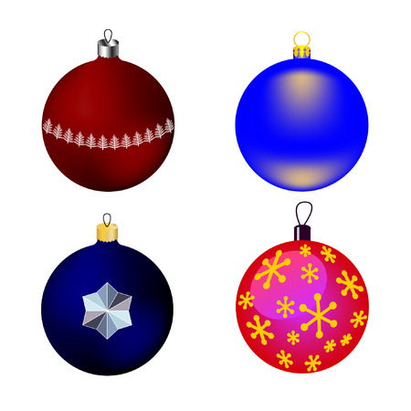 azure: vector images four Christmas-tree toys - blue, pink, red and azure balls