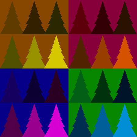 美しい背景にシームレスなベクトル パターン カラフルなモミの森 写真素材 - 50540084