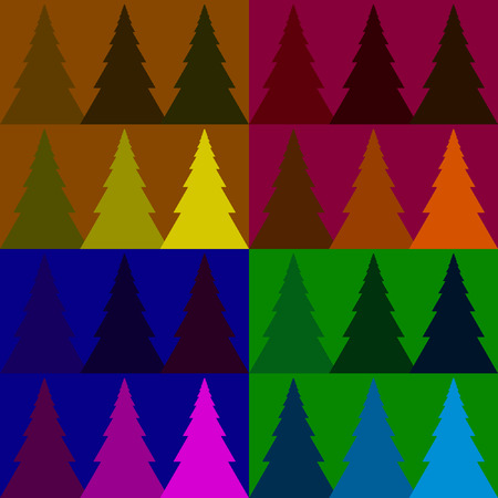 softwood: Seamless vector pattern colorful fir forest on a beautiful background Illustration