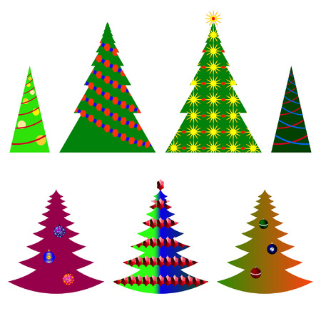 top 7: vector image seven Christmas trees with beautiful balls and decorations on a white background (eps10)