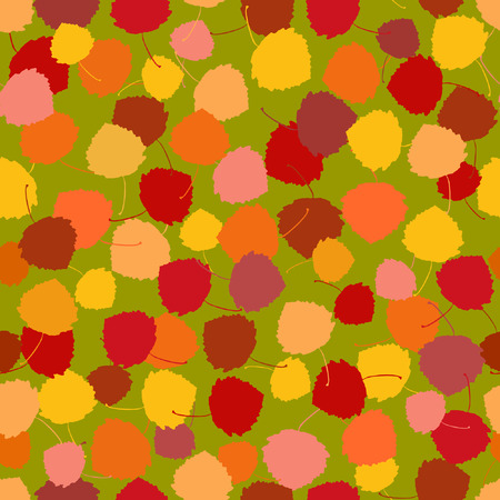paperhanging: Seamless vector pattern of multicoloured rich acpen leaves on a green background.