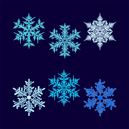 execution: Six vector beautiful hex-shaped snowflakes on a dark blue background. Illustration