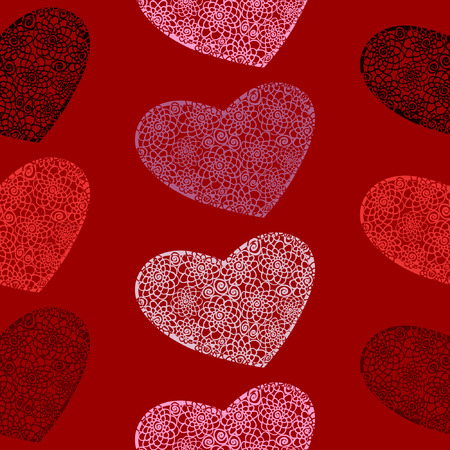 Vector seamless pattern of hearts on a blood-red background Çizim