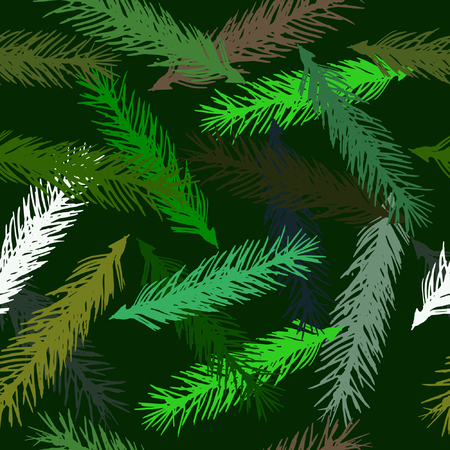 seamless pattern of spruce branches on a green background.