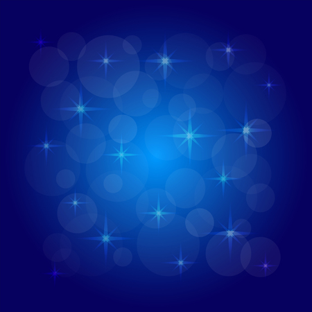 irregularity: picture of the bokeh effect with stars on a blue background. Illustration