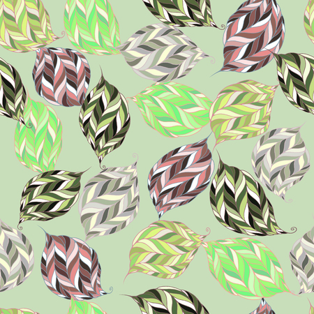 brushwood: Seamless pattern of psychedelic shapes in the form of leaves on a light green background. Illustration