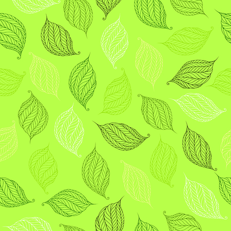 Seamless pattern of psychedelic shapes in the form of leaves on a light green background.