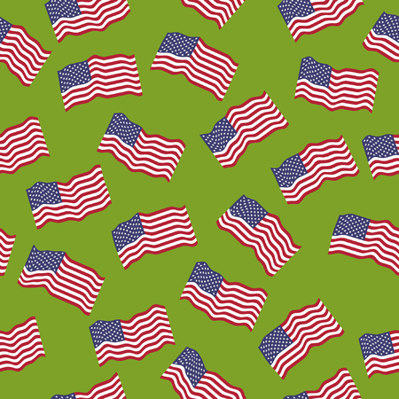 enlisted man: Vector seamless pattern: American flags on a green background.