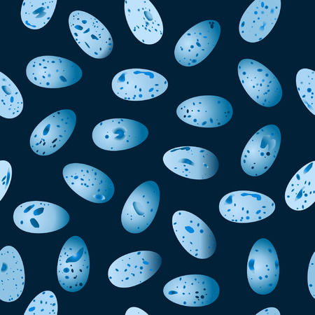 thrush: vector seamless pattern of eggs bird Song Thrush (Turdus philomelos) on a dark blue background.