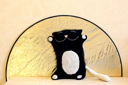 ejector: toy black and white cat on a background of the sun in the form of RRF-80 reflector