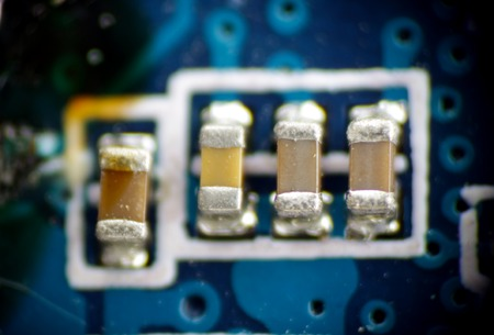 solder: capacitor macro smd pcb solder electronic circuit