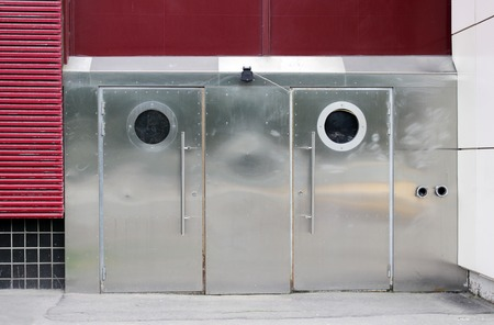 viewport: two doors with round stainless steel portholes. Moscow. Stock Photo