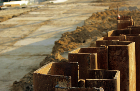 solidity: metal constructions to prevent the shedding of the soil during the construction of road junctions in the Moscow area. Stock Photo