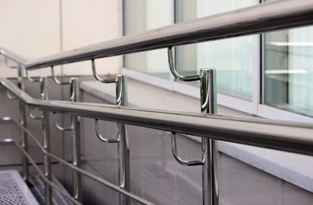 handrails: double handrails made of stainless steel in the street when exiting the store