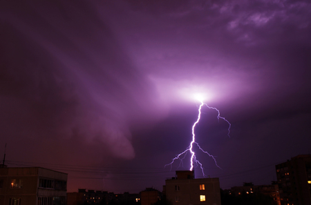 discharge time: night lightning in the clouds before the storm, and the storm July 14, 2016 Moscow Stock Photo