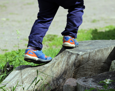 cragsman: feet of a boy who climbs on the big tree stump