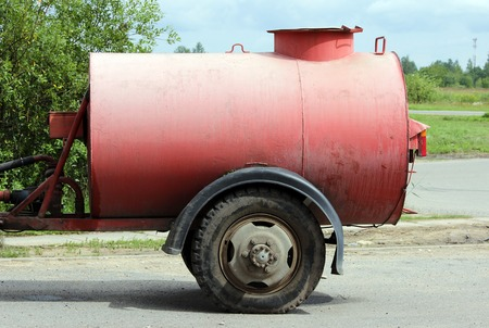 a barrel of water for watering streets in the Gatchina, Leningrad region