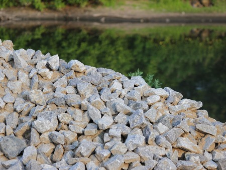 Special washed gravel used at the construction site for the construction of road transport interchanges in Moscow