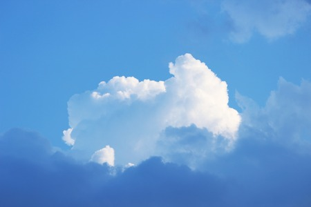 militant: blue sky with big white cumulus clouds Stock Photo