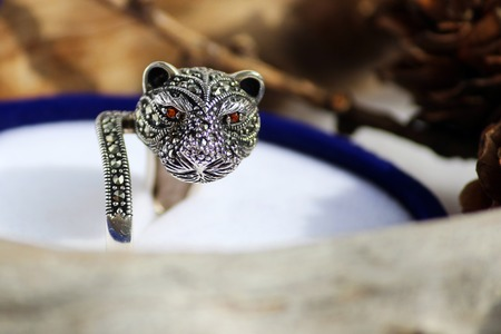 Black spinel diamond silver ring in the form of a cats head