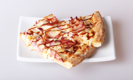 white yummy: yummy pizza on the white square plate Stock Photo