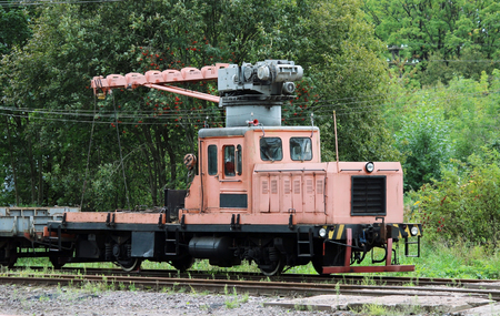 flatcar: Railcar for maintenance of the railway and security checks Stock Photo