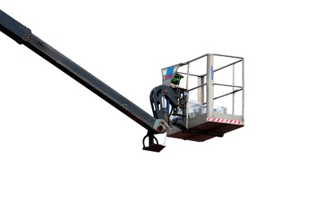 hydraulic lift: isolated hydraulic lift heavy equipment machine is working.