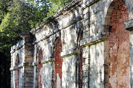 dilapidated building forestry greenhouse in the palace park buildings date 18th century, Gatchina, Russia Stock Photo